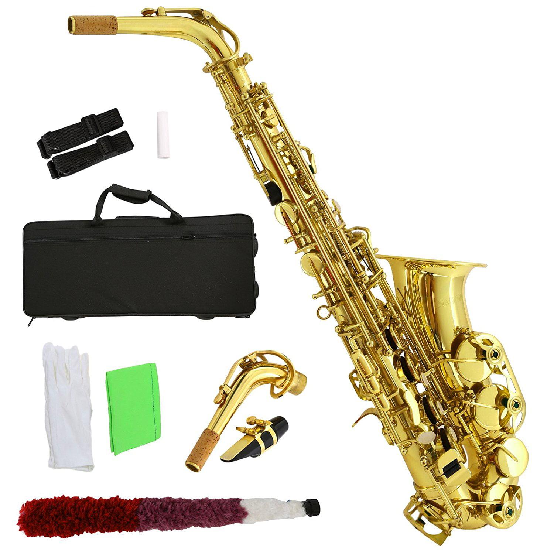 Click here to buy Uenjoy School Professional Paint Gold Alto Eb Sax Saxophone w Case, Mouthpiece, Carekit by Uenjoy.
