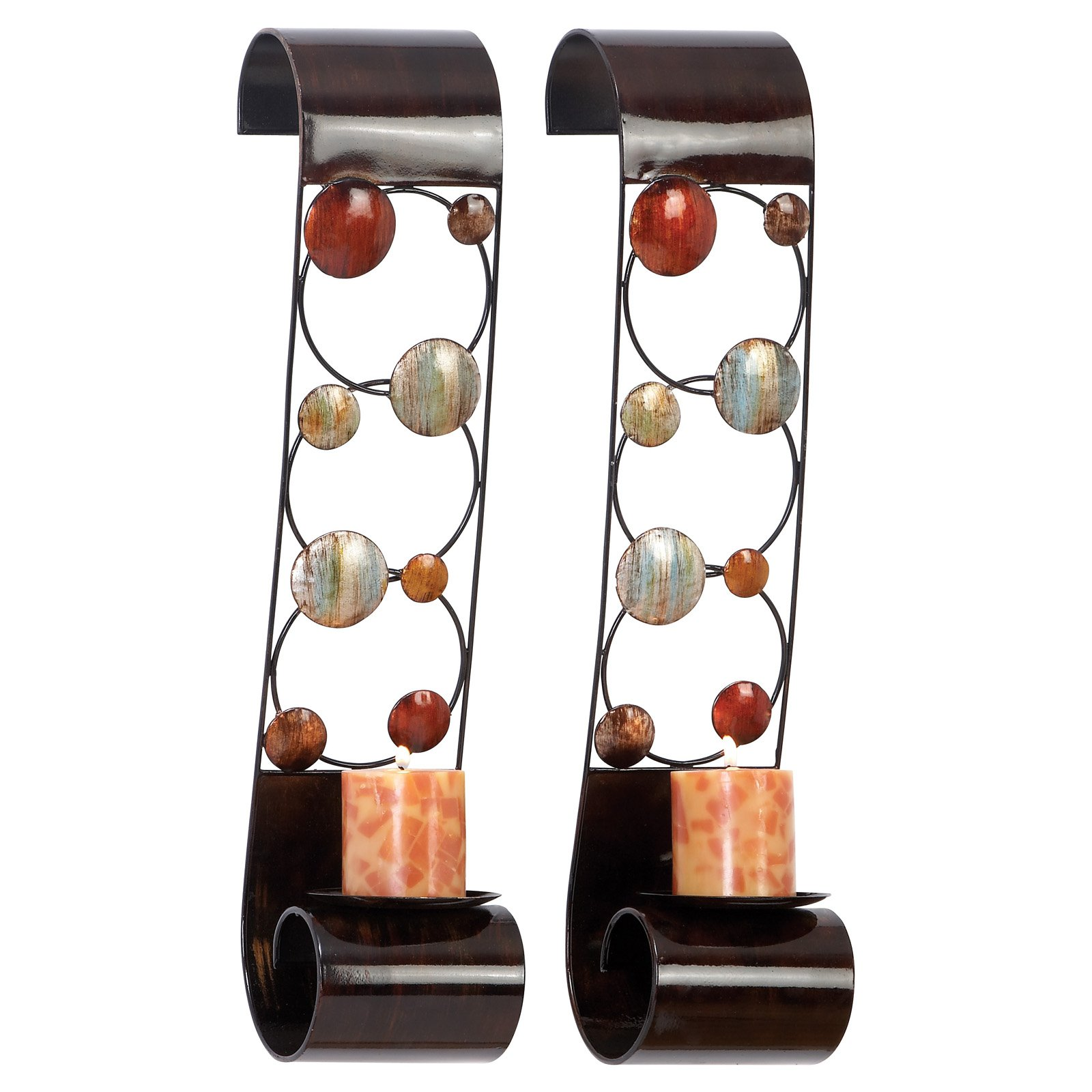 Decmode Metal Candle Sconce, Set of 2, Multi Color by DecMode