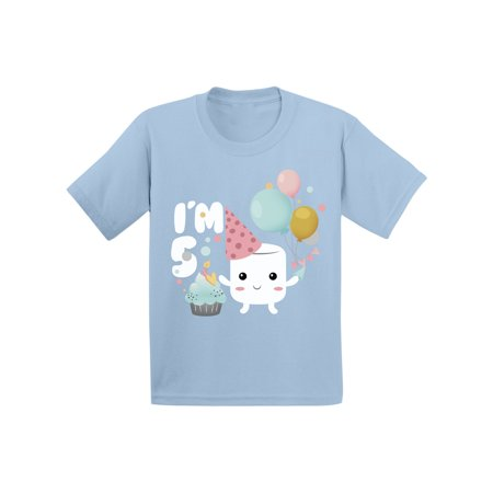 Awkward Styles Gifts for 5 Year Old Birthday Toddler B Day Shirts for Boys Shirt for Girls 5th Marshmallow B Day Outfit I'm Five Shirt Gifts for 5 Year Old Birthday Toddler Shirt 5th Birthday