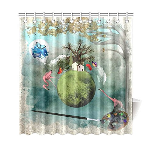 GCKG Mysteric Trees Shower Curtain Pink Flamingo Polyester Fabric Bathroom Sets With Hooks 66x72 Inches