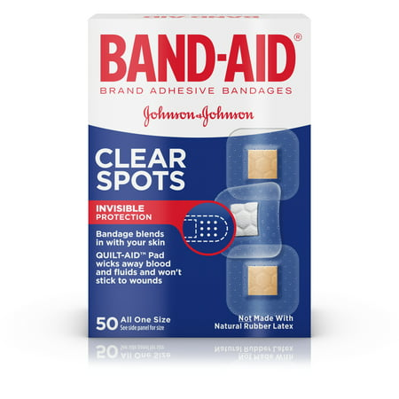 (2 pack) Band-Aid Brand Clear Spots discreet Bandages, All One Size, 50 ct