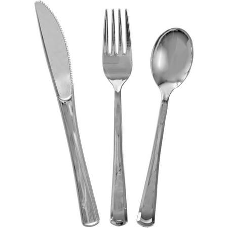 Assorted Plastic Silverware for 6, Metallic Silver, 18pc - Plastic Silver Silverware