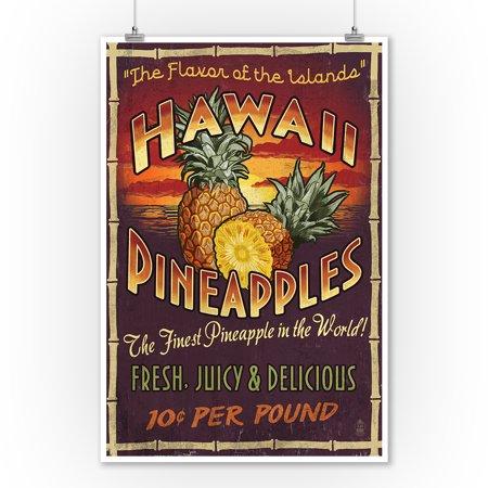 Hawaiian Pineapple Vintage Sign Poster (Vintage Hawaii Poster Art)