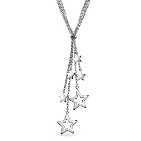 USA Patriotic Lucky Stars American Rock Star Lariat Y Necklace For Women For Teen 925 Sterling