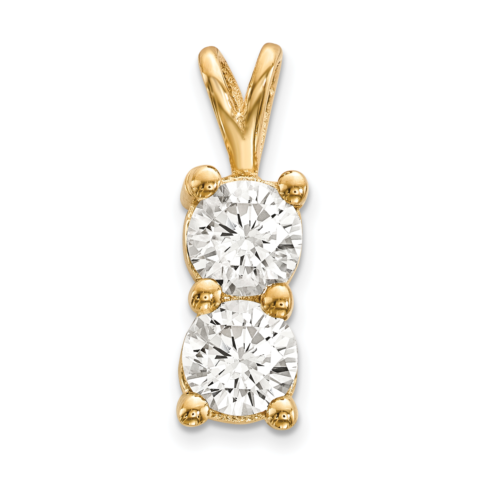 14K Yellow GoldY Polished 2-stone Casting - 4.8 mm center...