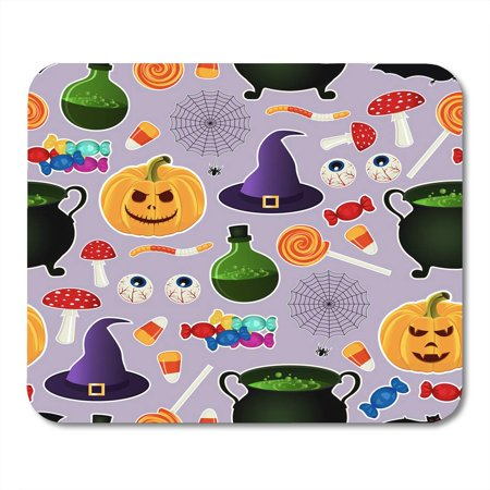LADDKE Colorful Related Halloween Holiday Object Silhouettes on Purple Traditional Witches Attributes Bright Mousepad Mouse Pad Mouse Mat 9x10 inch](Halloween Related Holidays)