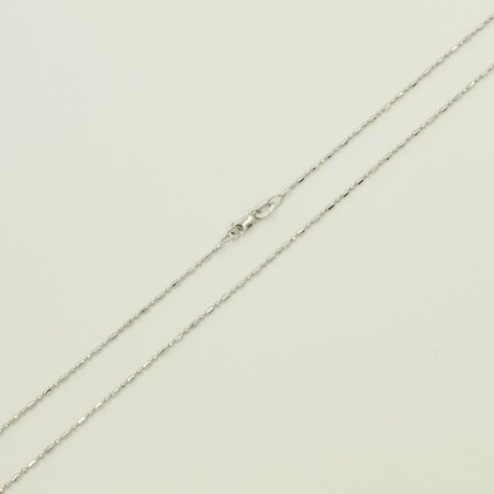 14K Real White Gold Diamond Cut Bead Bar Chain Necklace 1.2mm Width for Children & Women