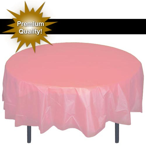 Merveilleux Exquisite 12 Pack 84u201d Round Tablecloth Covers Bulk   Pink Disposable  Plastic Tablecloths   Heavy Duty Premium Plastic Disposable Table Cloths  Round