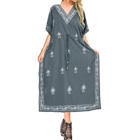 Embroidered Maxi - Womens Boho Plus Size Embroidered Party Rayon Long Caftan Evening Wear Summer Loose Dress Kaftan