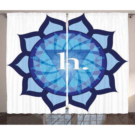 Chakra Decor Curtains 2 Panels Set, Flower Shaped Indian Icon Vital Energy  and Life Force Symbol Eastern Religion Art, Window Drapes for Living Room