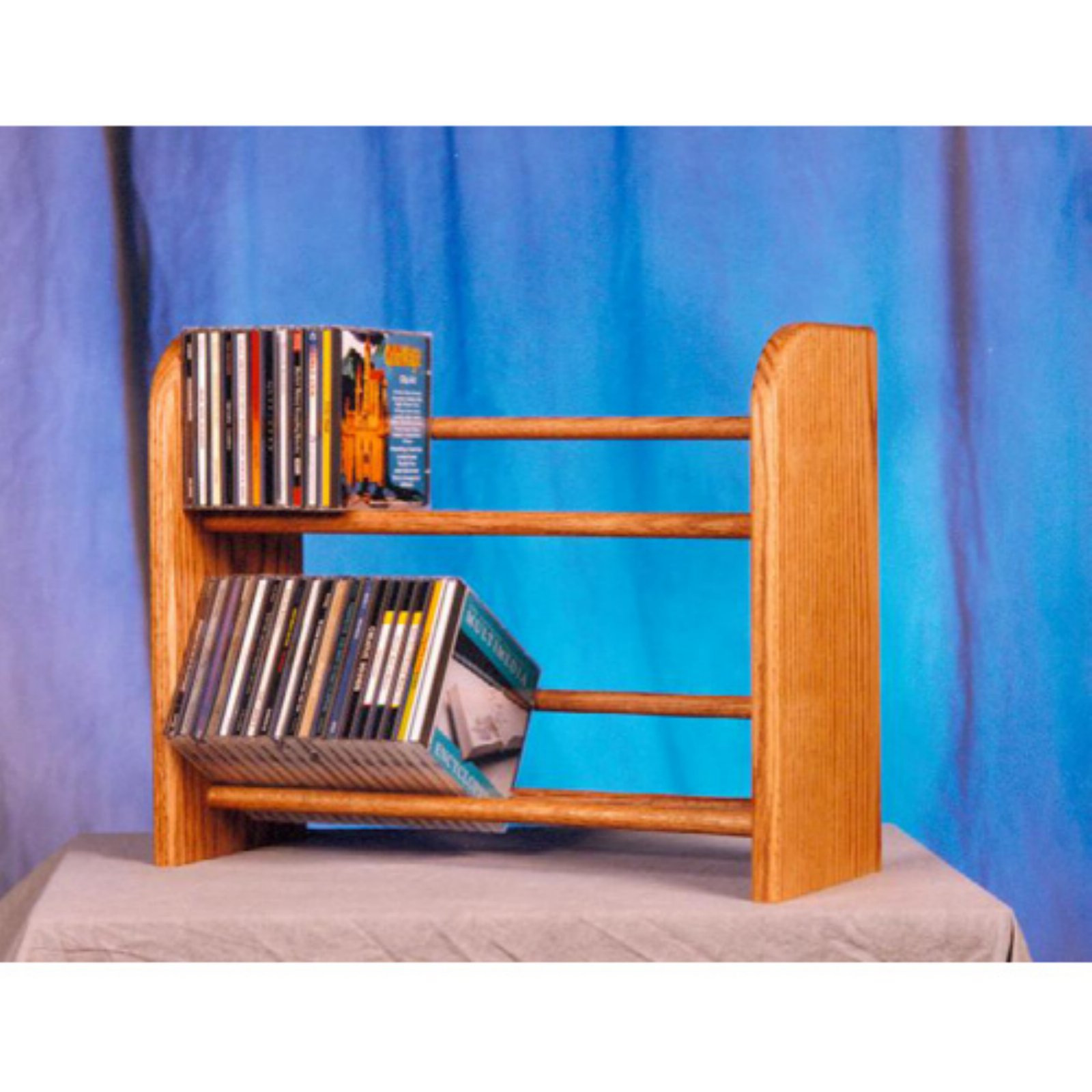 The Wood Shed Solid Oak 2 Row Dowel 110 CD Media Rack by The Wood Shed