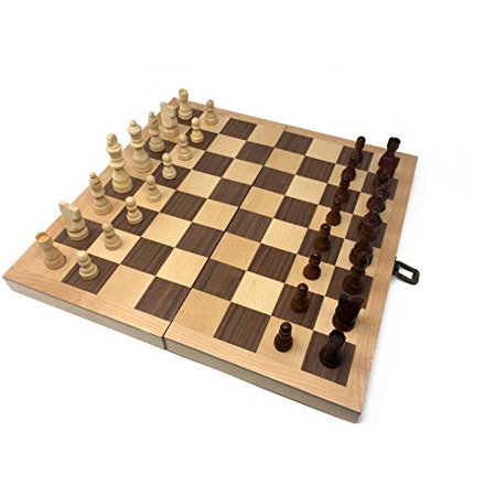 Classic Wood Folding Chess Set w/ Hand Carved Staunton Chess Pieces - 16