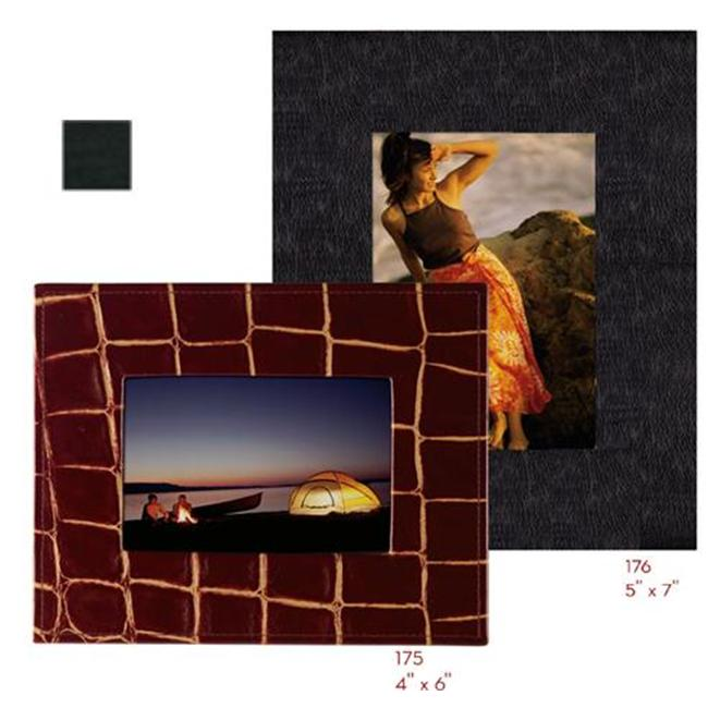 Raika VI 175 BLK 4inch x 6inch Wide Border Leather Frames - Black