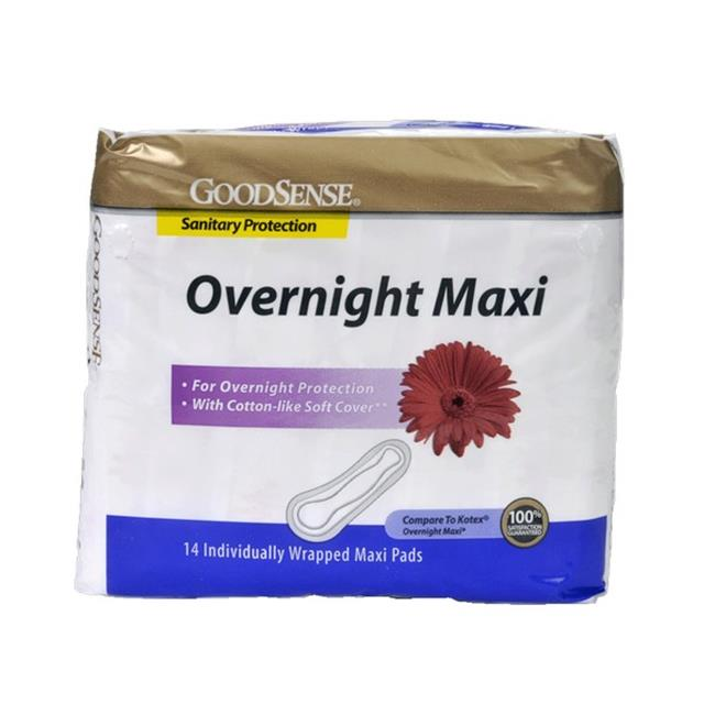 Good Sense Overnight Maxi Pads, 14 Count - Case of 12