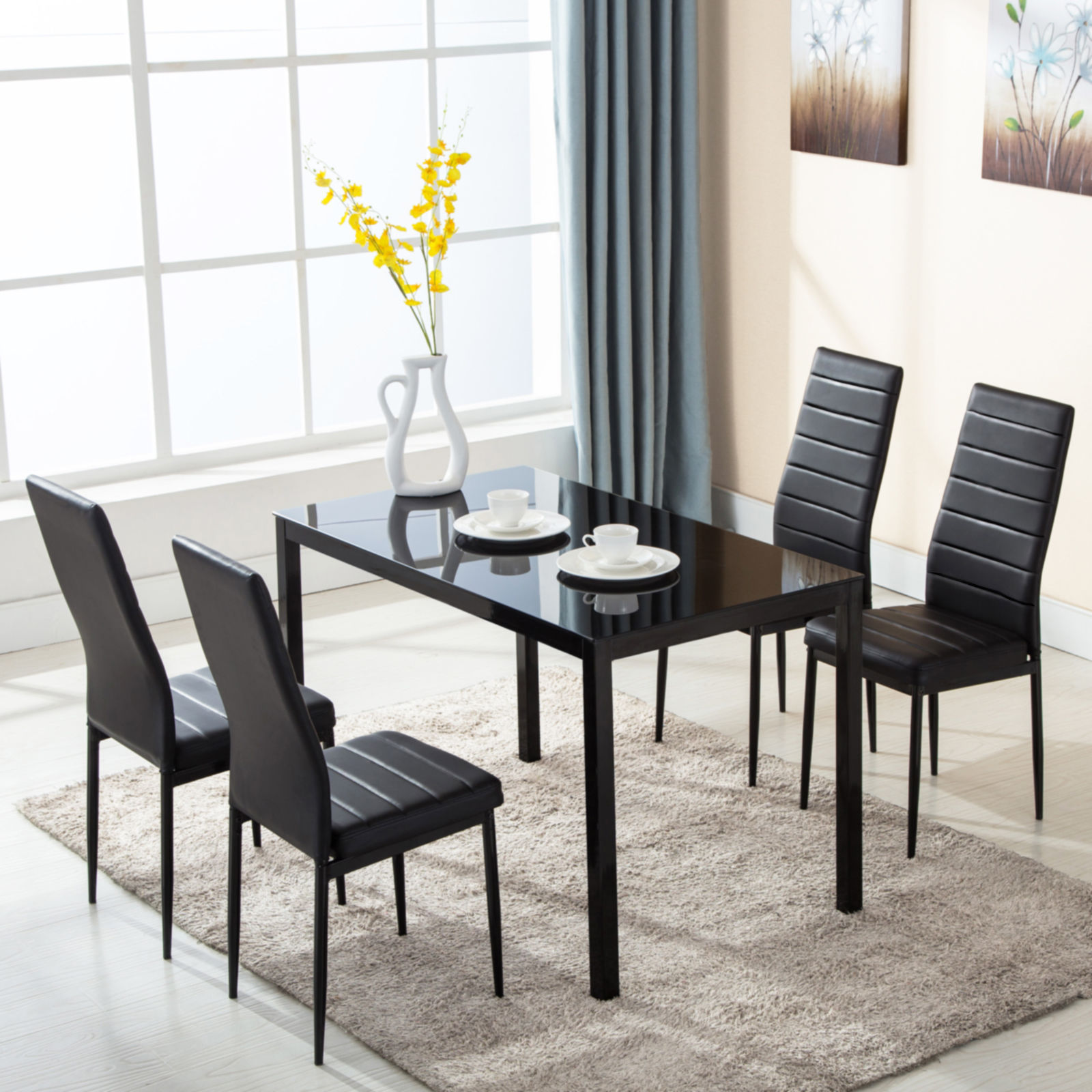 Ktaxon 5 Piece Dining Table And Chairs Set,4 Chairs,Glass Table Breakfast  Furniture