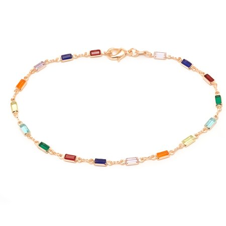 Dark Multi-colored Anklet with Swarovski Crystals