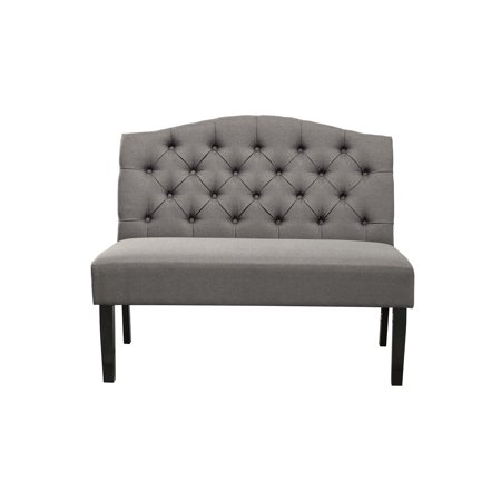 Upholstered Bench With Back (Polyester Upholstered Wooden Bench with Button Tufted Back, Gray)