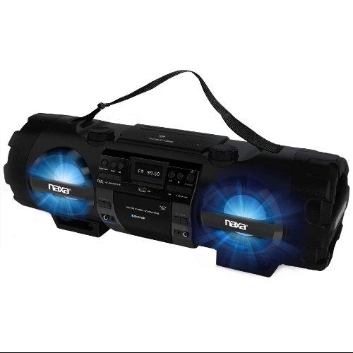 Naxa Mp3/cd Bass Reflex Boombox & Pa System With Bluetooth - 1 X Disc - 60 W Integrated - Black - Cd-da, Mp3 - Battery Rechargeable - Usb - Auxiliary Input (npb-262)