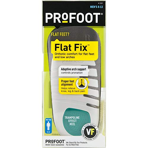 PROFOOT Mens 8-13 Orthotic Insoles for Flat Feet Flat Fix Orthotic 1 Pair