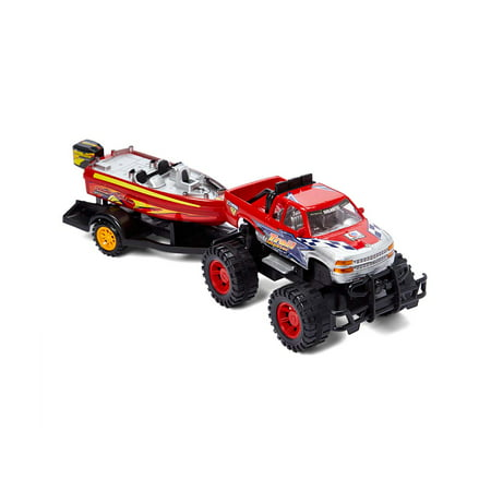 Dash Toyz Monster Truck Trailer with Speed Boat Friction Push Powered Hauler Play Set (Speed Boat Racers)