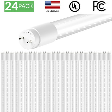 Sunco Lighting 24 Pack 4FT 48 Inch T8 Tube LED Light Bulbs 15 Watt (32 Equivalent) Clear 5000K Kelvin Daylight 1800LM, Bright White Light, Single Sided Connection Bypass Ballast - ETL & DLC Listed