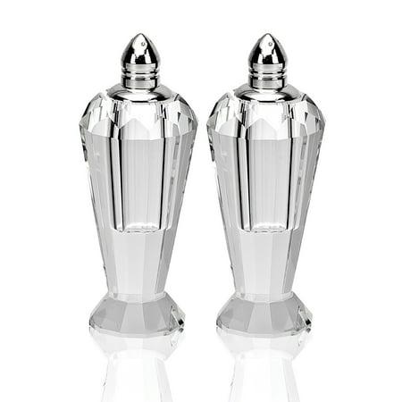 4 Inch Handmade Platinum Colored Top Crystal Pair Salt & Pepper Shaker Set Crystal Salt And Pepper Set