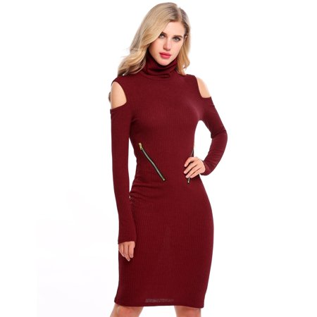 Women Turtleneck Cold Shoulder Long Sleeve Zip Bodycon Sweater Dress HFON ()