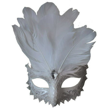 White and Silver Carnival Eye Mask Adult Halloween Accessory (Halloween Eye Safety)