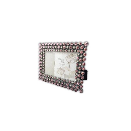 Rhinestone Jeweled Silver Pink & Clear 4 x 6 Picture Frame Vintage Antique Look, Holds a 4 x 6 or 6 x 4 picture, and can sit either horizontally or.., By Sheffield Home from USA