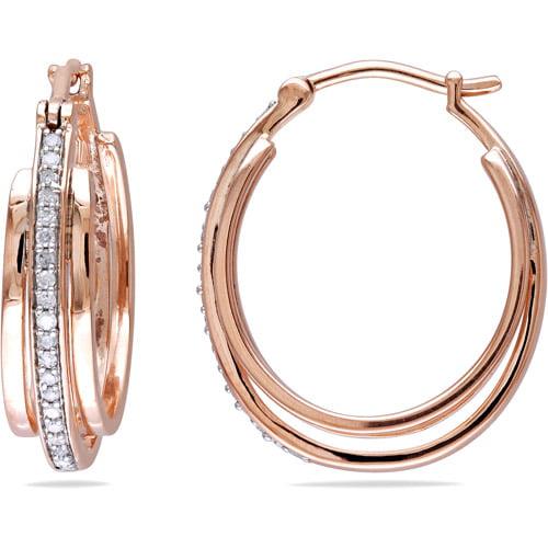 Miabella 1/5 Carat T.W. Diamond Pink Rhodium over Sterling Silver Hoop Earrings