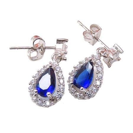 Sonoma Blue Pear Shape with Clear CZ Stud Dangle Earrings Ginger Lyne Collection