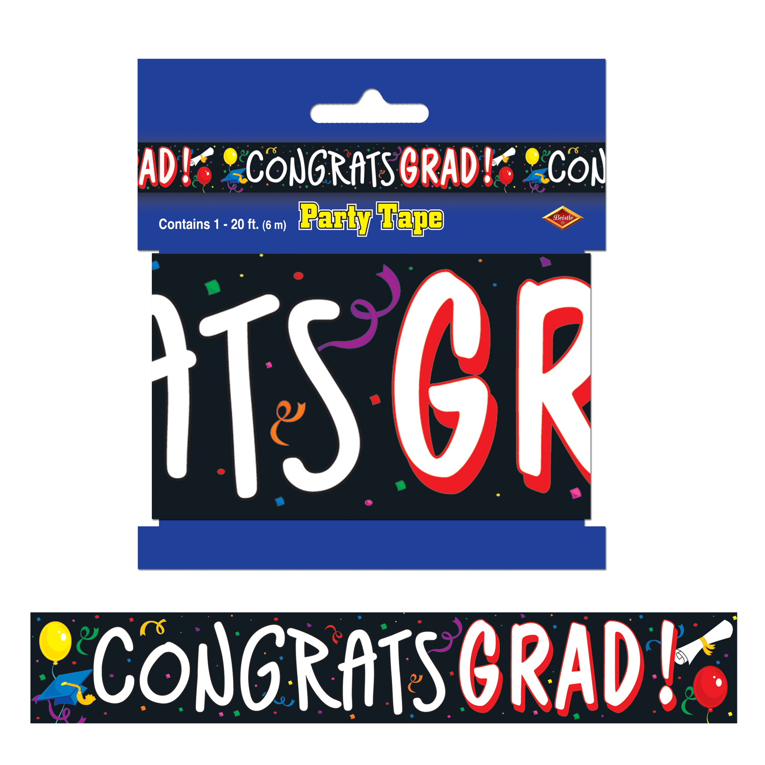 Beistle 66093 Congrats Grad Party Tape - Pack of 12