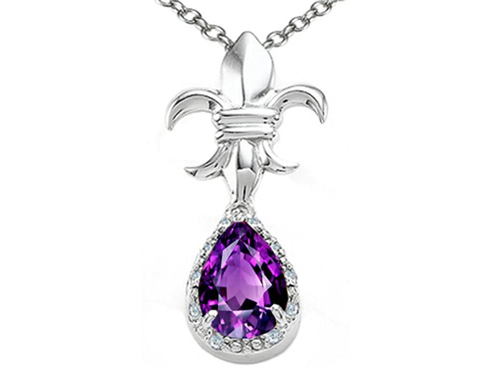 Tommaso Design Pear Shape 8x6mm Genuine Amethyst Pendant Necklace by