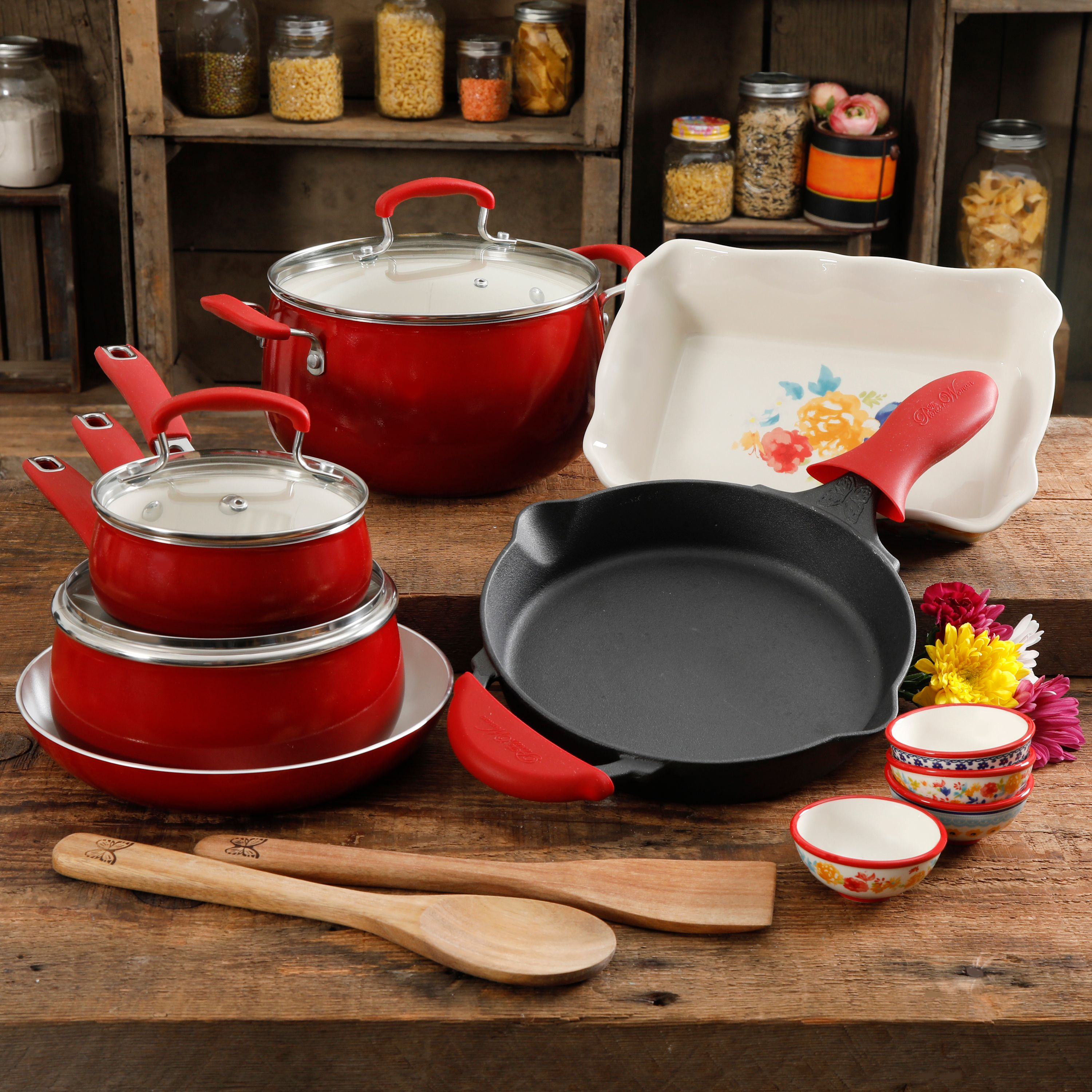 The Fiona Floral 17-Piece Classic Belly Aluminum Cookware Combo Set, Sunset Red