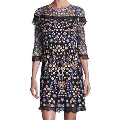 Polka Dot Chiffon Dress - Fancyleo Summer Women's Sexy Casual Polka Dot Print Chiffon Crew Neck Short Sleeve Dress