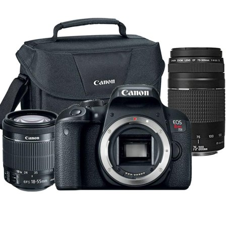 Canon Eos Rebel T7i 24 2mp Dslr Camera With 18 55mm Lens 75 300mm Lens And Canon 100es Case