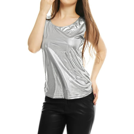 Women's U Neck Stretch Slim Fit Metallic Tank Top Metallic Trim Tank