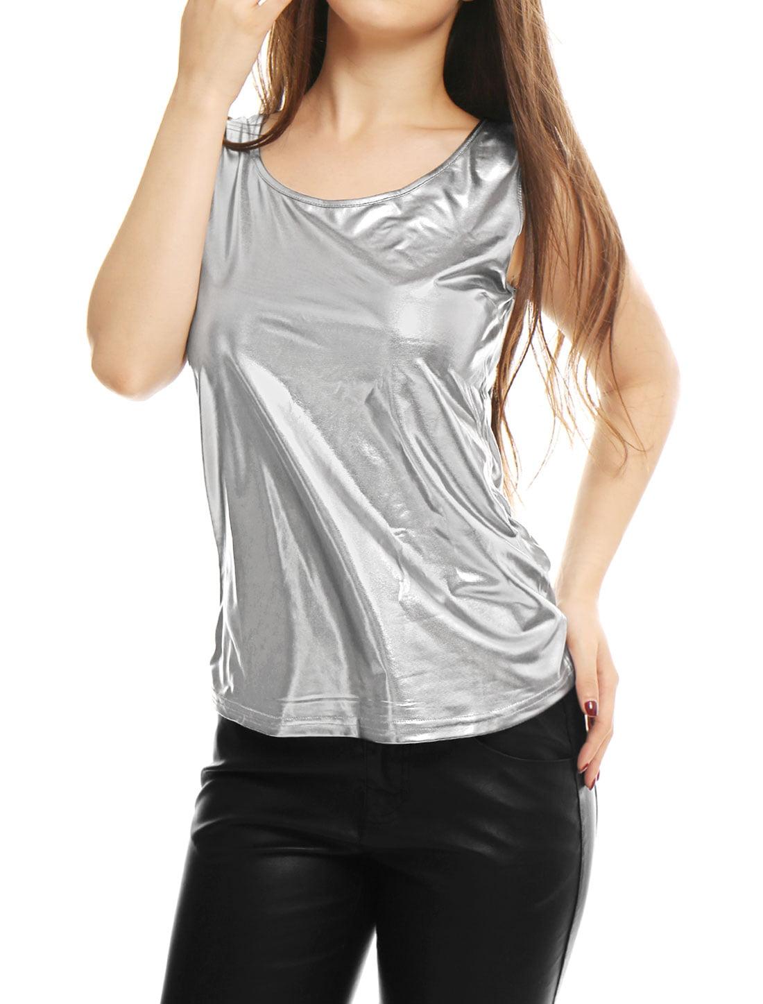 Women's U Neck Stretch Slim Fit Metallic Tank Top