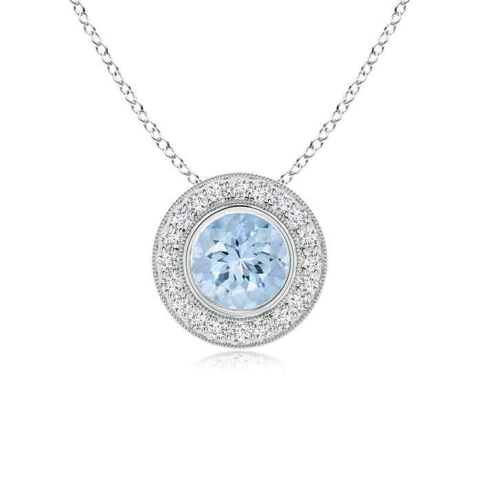 March Birthstone Pendant Necklaces Aquamarine Pendant Necklace with Diamond Halo in 950 Platinum (7mm Aquamarine)... by Angara.com