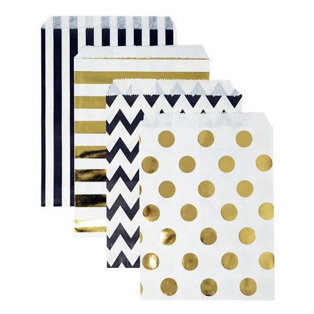 48 Black and Gold Polka Dot Chevron Stripes 5x7 Paper Treat Bags Goody Favor Bags (Pre Filled Goody Bags)