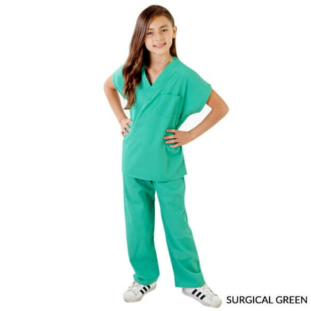 Cheerleading Uniforms Costumes (NATURAL UNIFORMS Unisex Kids Soft Cotton Blend Scrubs Set Costume with Free)