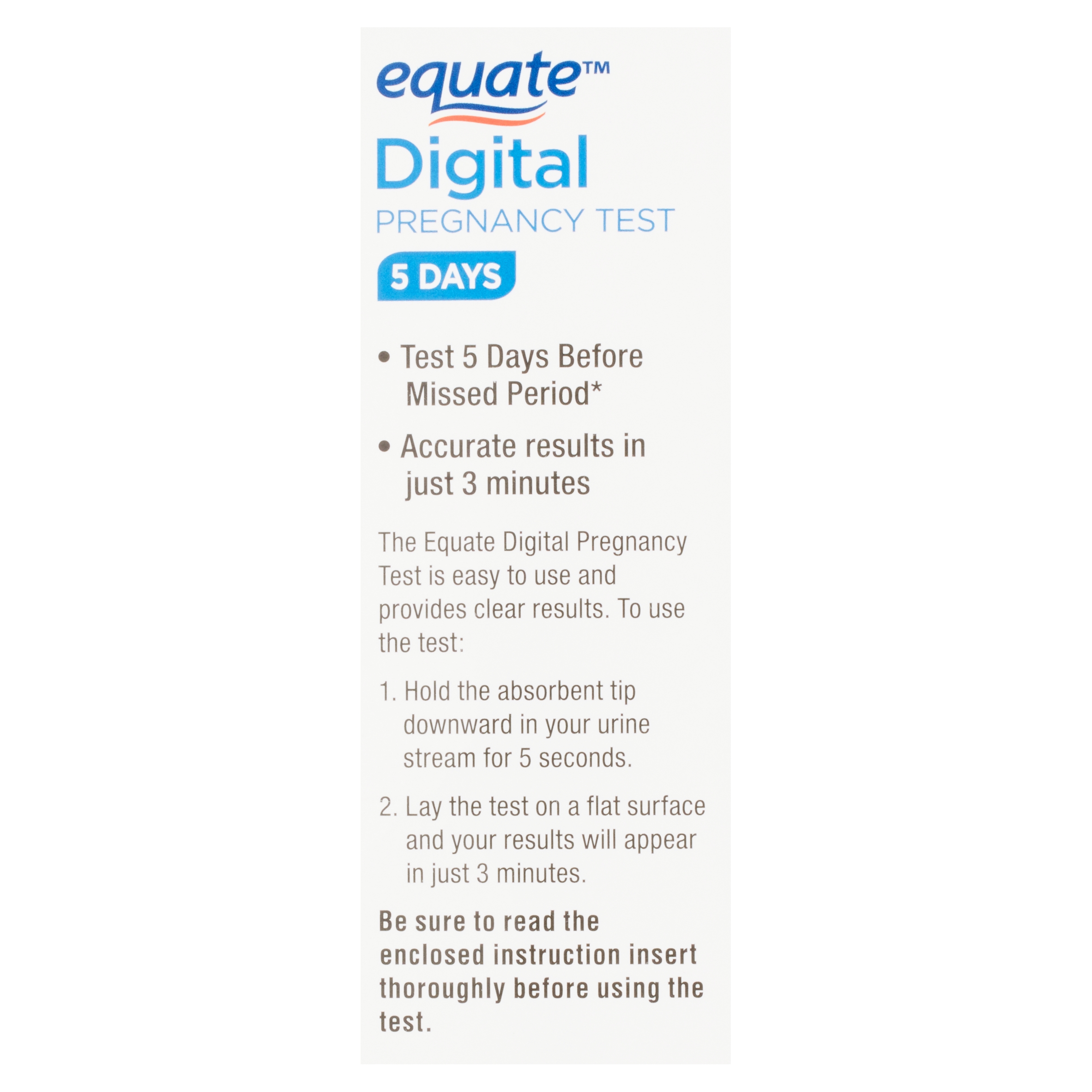 Equate Digital Pregnancy Test, 2 count - Walmart com