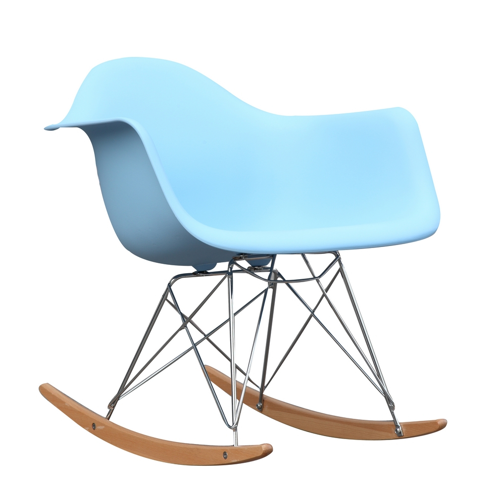 Fine Mod Imports Rocker Arm Chair-Color:Light Blue,Style:Contemporary/Modern