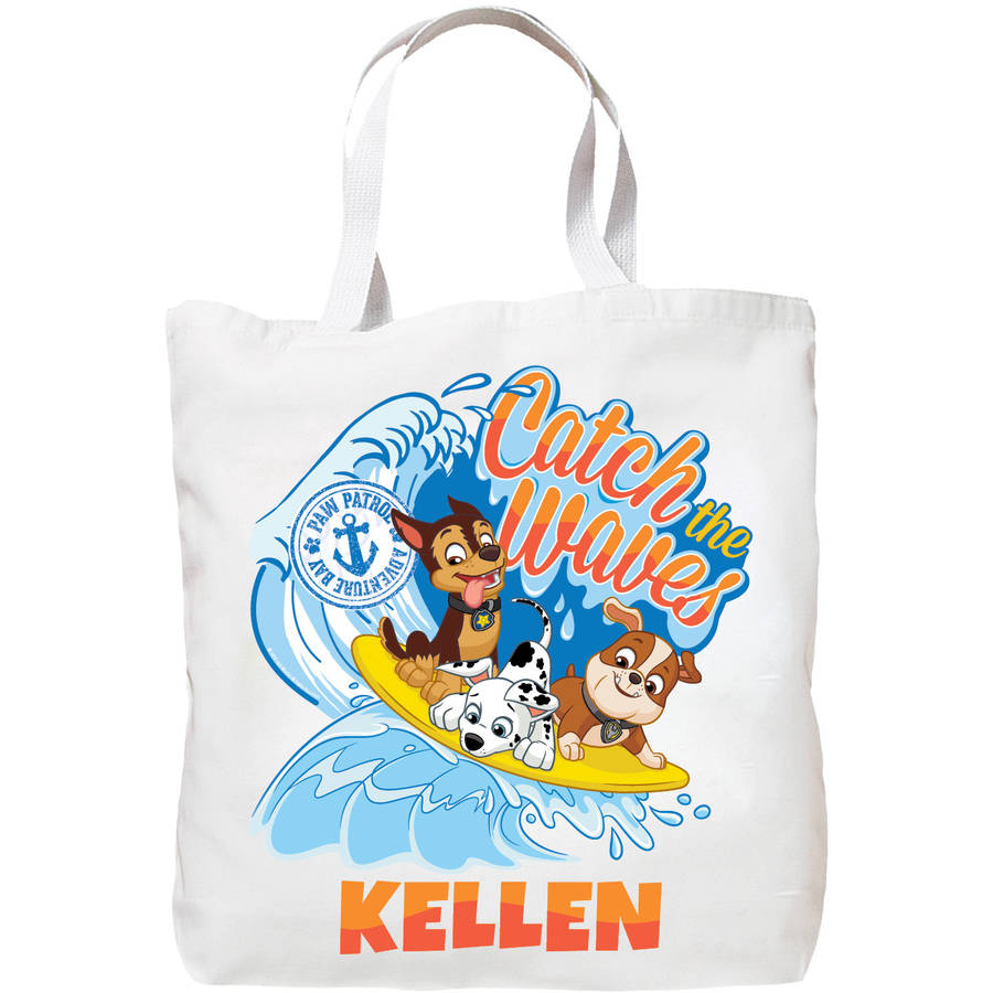 Personalized Paw Patrol Catch the Waves Tote Bag