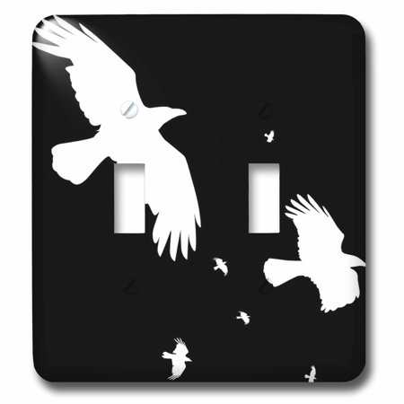 3dRose A Murder of Crows, Halloween crows in white silhouetted on black, Double Toggle Switch - Halloween Crow Silhouette