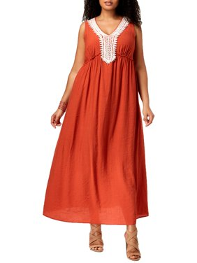 NY Collection Womens Plus Crinkled Full-Length Maxi Dress