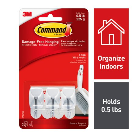 Command Wire Hooks White Small 3 Hooks 4 Strips Pack