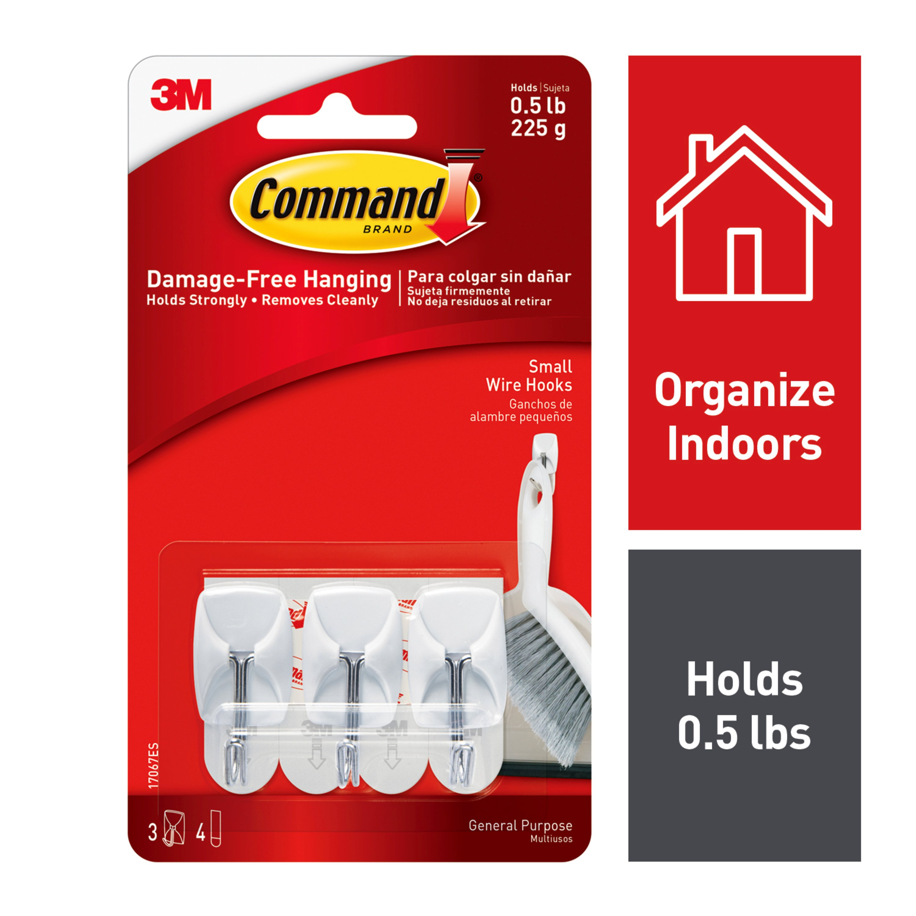 Command Wire Hooks, White, Small, 3 Hooks, 4 Strips/Pack