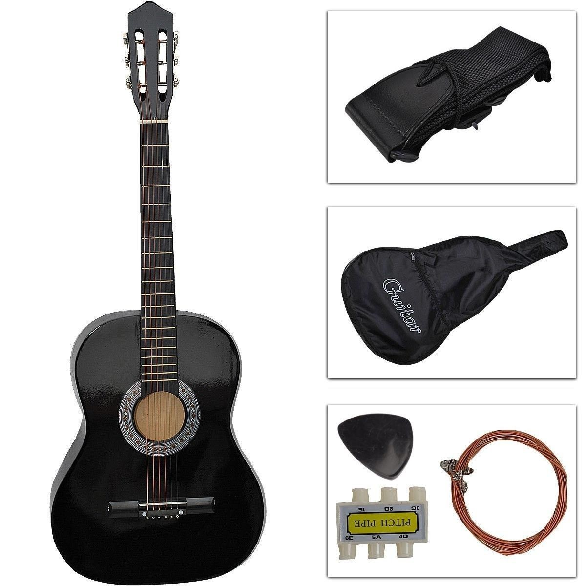 New Beginners Acoustic Guitar W Guitar Case Strap Tuner Pick Black by Apontus