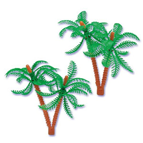 Oasis Supply Cupcake/Cake Decorating Double Palm Tree Topper, 5-Inch, Assorted Colors, Set of 12